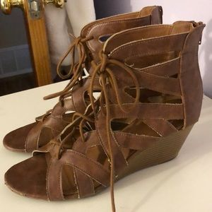 Brown Gladiator style Wedge Sandals